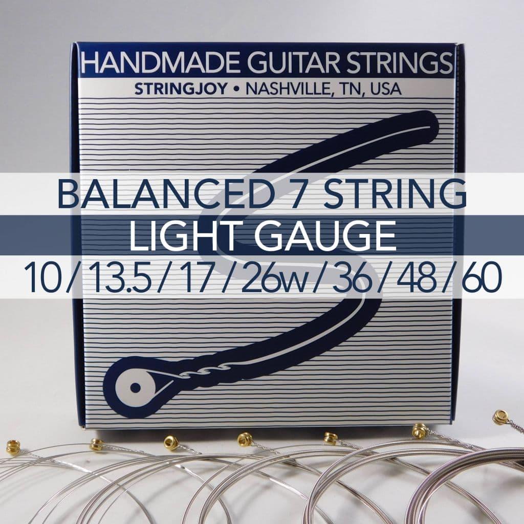 stringjoy 7 string balanced light gauge 10 60 nickel wound electric guitar strings. Black Bedroom Furniture Sets. Home Design Ideas