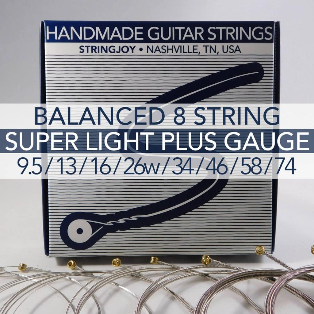 stringjoy 8 string balanced super light plus gauge 9 5 74 nickel wound electric guitar strings. Black Bedroom Furniture Sets. Home Design Ideas