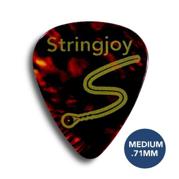 Stringjoy Medium .71mm Tortoise Picks (Celluloid) - 10 Pack