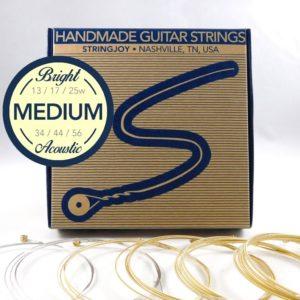 Stringjoy Medium (13-56) Bright Brass Acoustic Guitar Strings