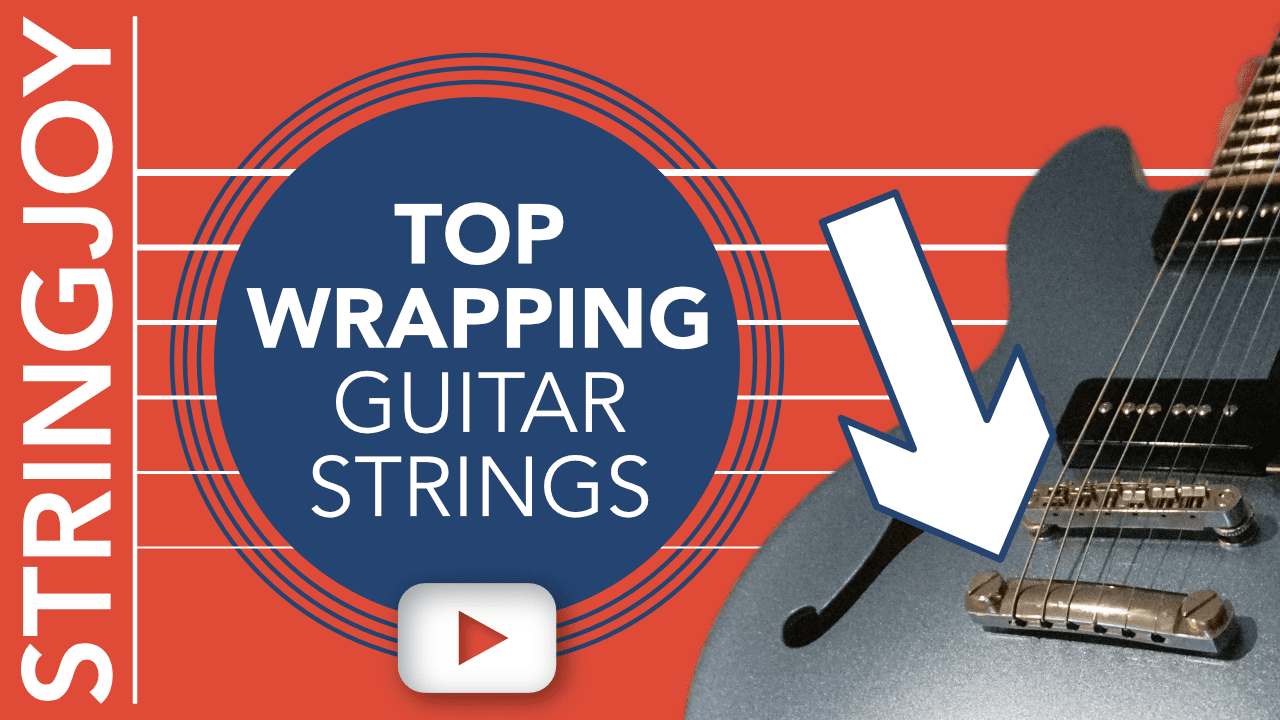 top wrapping guitar strings on les paul style tune o matic tailpiece stringjoy. Black Bedroom Furniture Sets. Home Design Ideas
