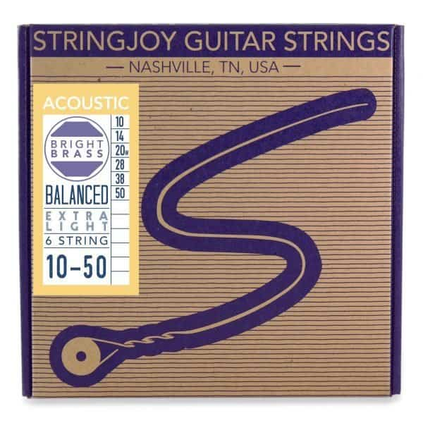 Stringjoy Extra Light (10-50) Bright Brass™ 80/20 Bronze Acoustic Guitar Strings