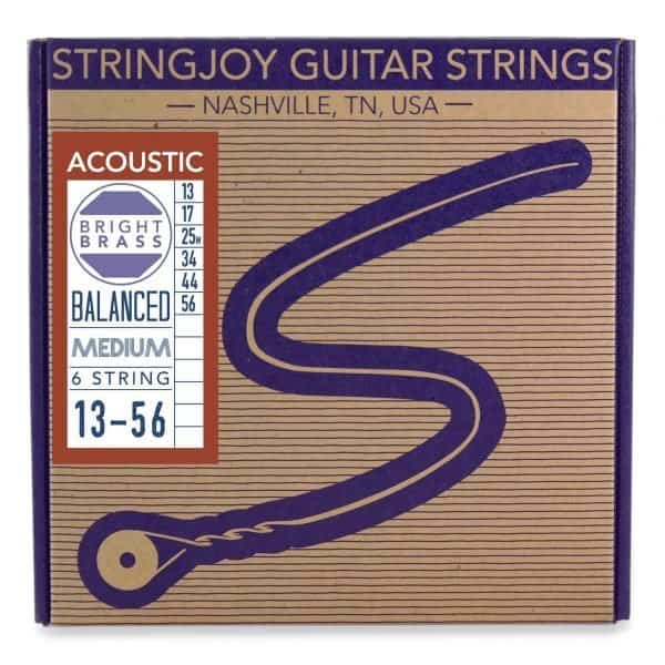 Stringjoy Medium (13-56) Bright Brass™ 80/20 Bronze Acoustic Guitar Strings