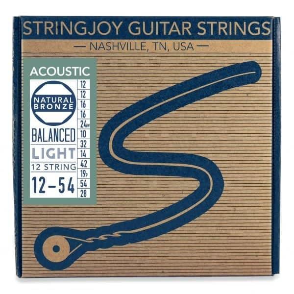 Stringjoy Light Gauge 12 String Natural Bronze™ Phosphor Acoustic Guitar Strings