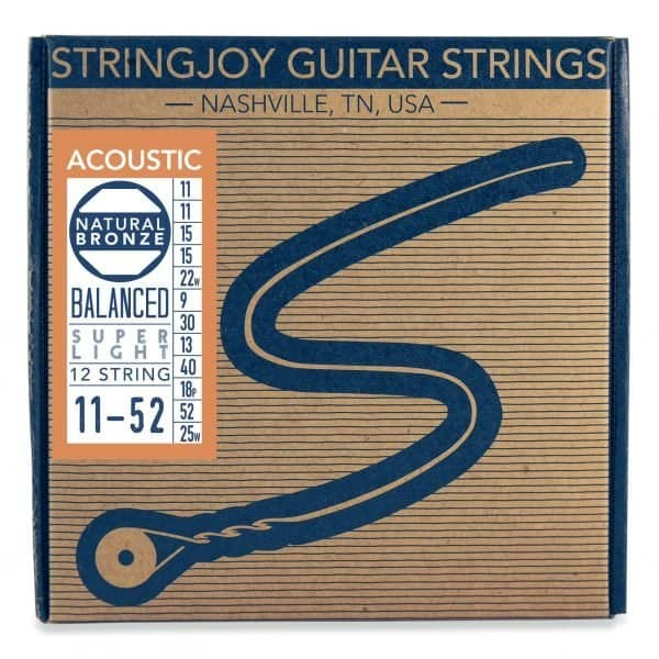 Stringjoy Super Light Gauge 12 String Natural Bronze™ Phosphor Acoustic Guitar Strings