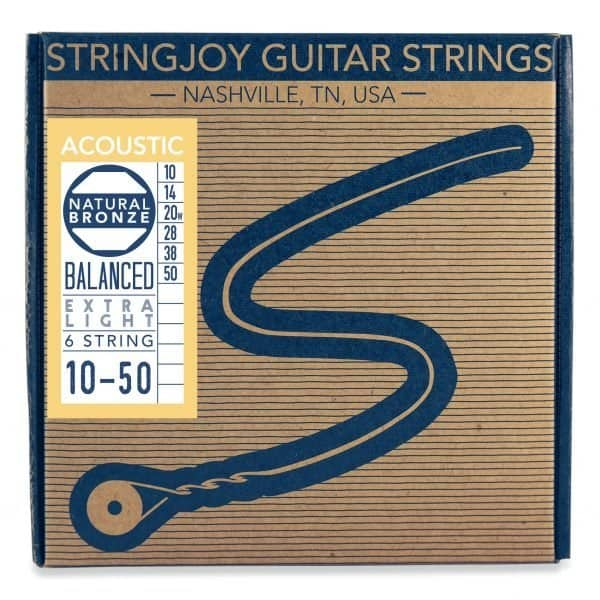 Stringjoy Extra Light (10-50) Natural Bronze™ Phosphor Acoustic Guitar Strings
