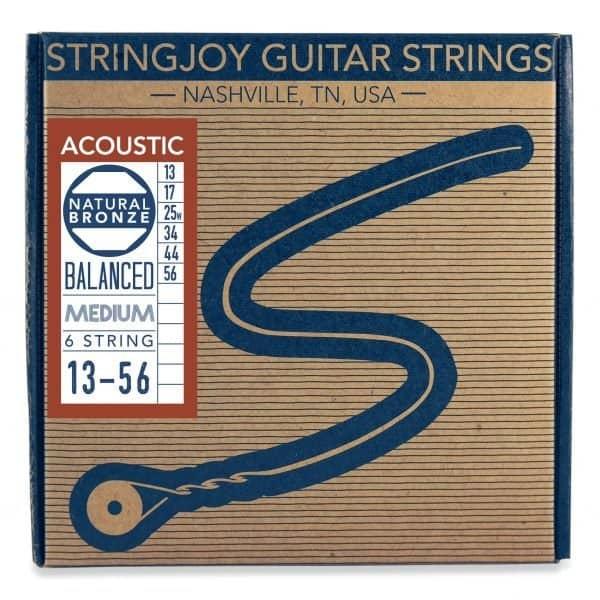 Stringjoy Medium (13-56) Natural Bronze™ Phosphor Acoustic Guitar Strings