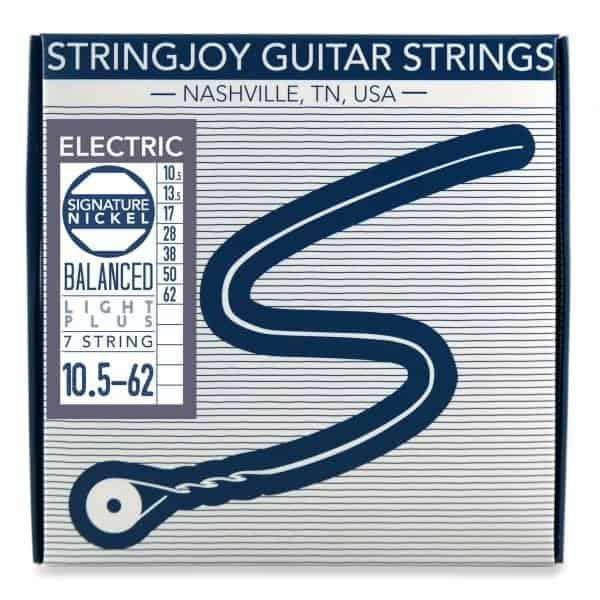 Stringjoy 7 String Balanced Light Plus Gauge (10.5-62) Nickel Wound Electric Guitar Strings