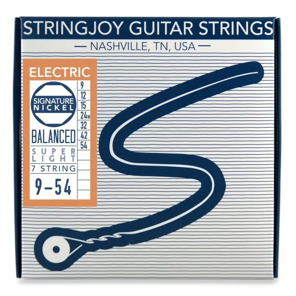 Stringjoy 7 String Balanced Super Light Gauge (9-54) Nickel Wound Electric Guitar Strings