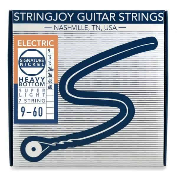 Stringjoy 7 String Heavy Bottom Super Light Gauge (9-60) Nickel Wound Electric Guitar Strings