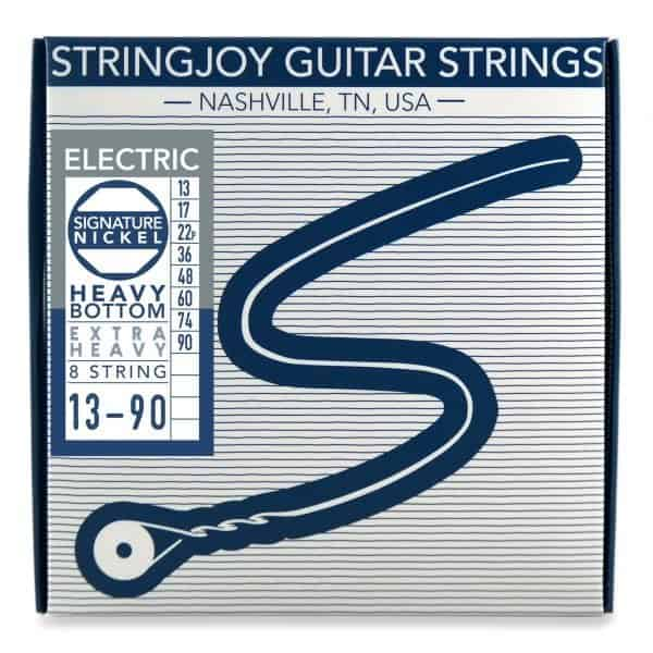 Stringjoy 8 String Heavy Bottom Extra Heavy Gauge (13-90) Nickel Wound Electric Guitar Strings