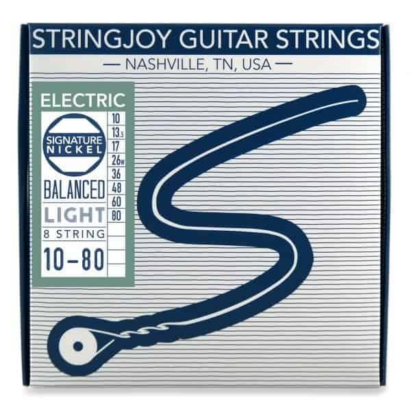 Stringjoy 8 String Balanced Light Gauge (10-80) Nickel Wound Electric Guitar Strings