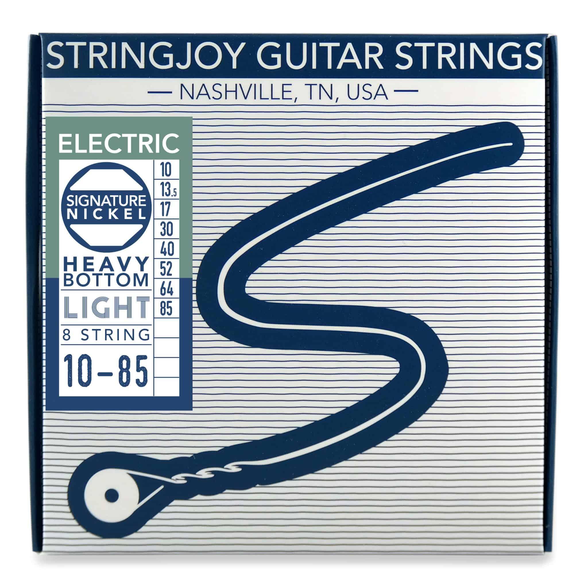stringjoy 8 string heavy bottom light gauge 10 85 nickel wound electric guitar strings. Black Bedroom Furniture Sets. Home Design Ideas