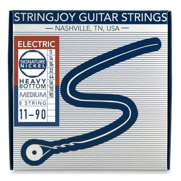 Stringjoy 8 String Heavy Bottom Medium Gauge (11-90) Nickel Wound Electric Guitar Strings