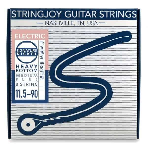 Stringjoy 8 String Heavy Bottom Medium Plus Gauge (11.5-90) Nickel Wound Electric Guitar Strings