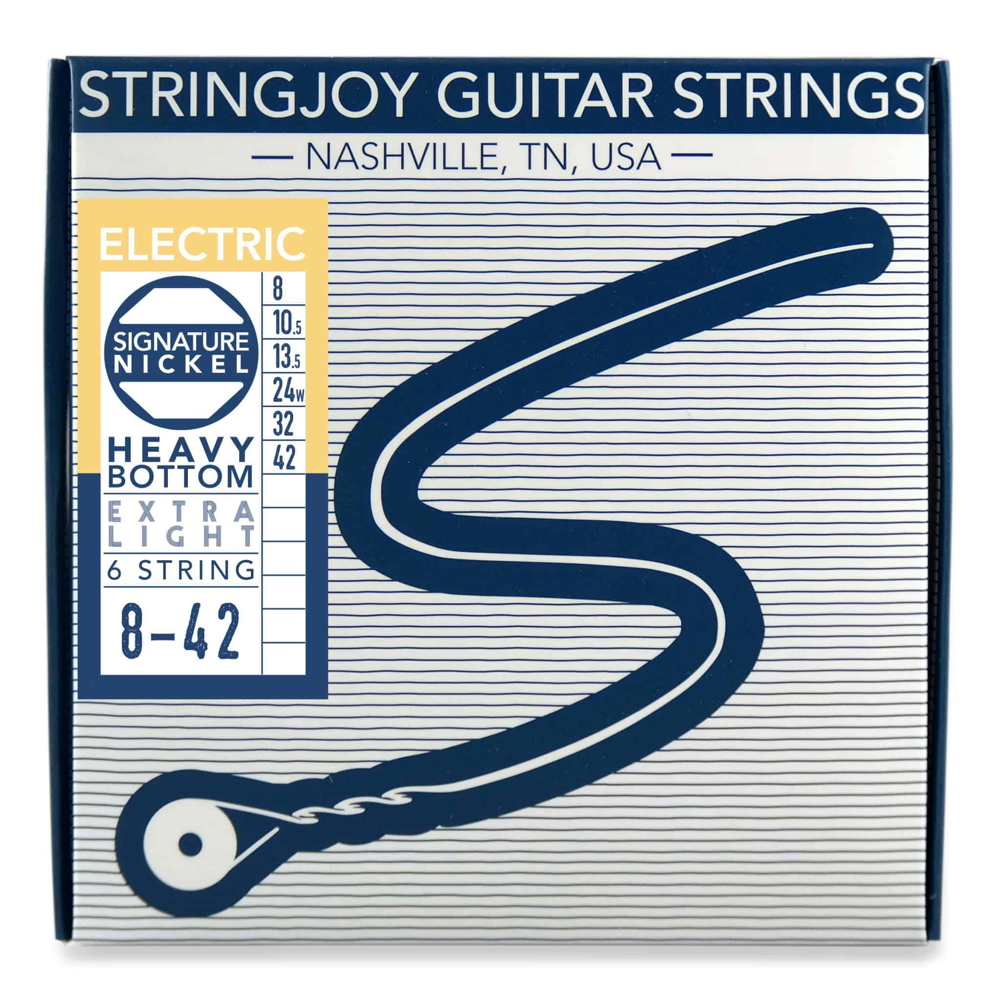 Stringjoy Signatures | Heavy Bottom Extra Light Gauge (8-42) Nickel Wound Electric Guitar Strings