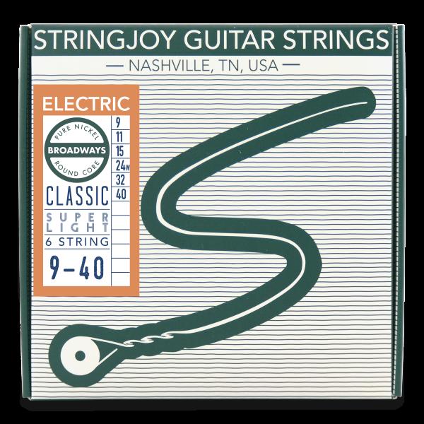 stringjoy broadways classic super light gauge 9 40 pure nickel electric guitar strings. Black Bedroom Furniture Sets. Home Design Ideas