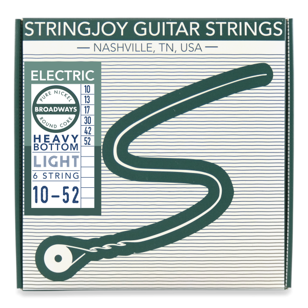 Stringjoy Broadways | Heavy Bottom Light Gauge (10-52) Pure Nickel Electric Guitar Strings